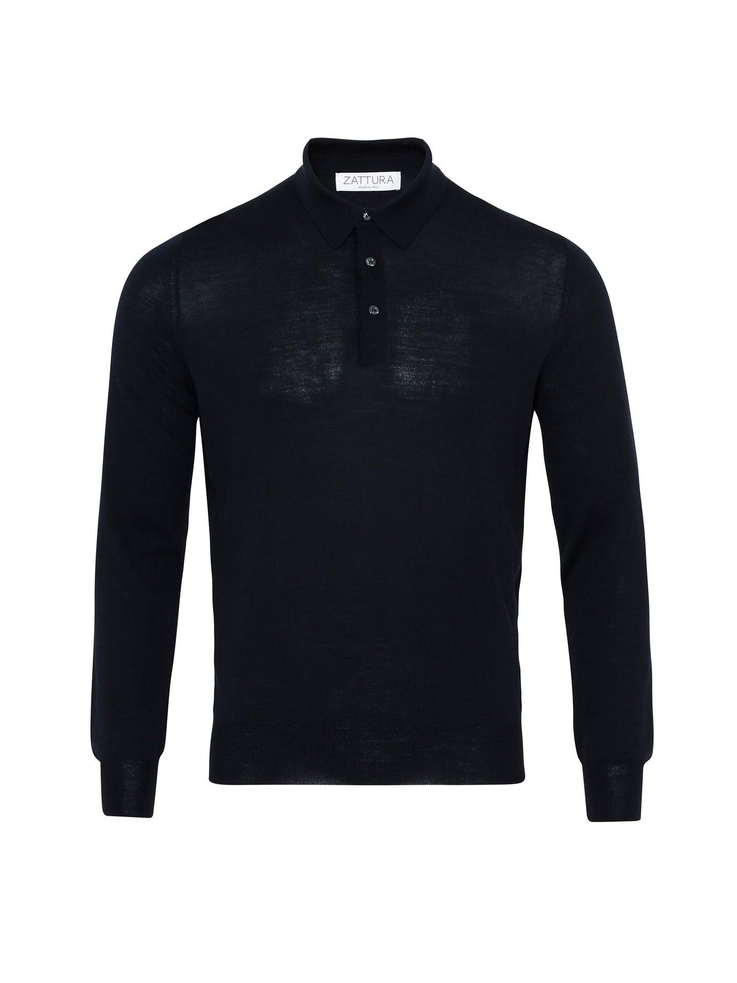 Zattura Superfine Merino Long Sleeve Polo (Navy) - Union 22