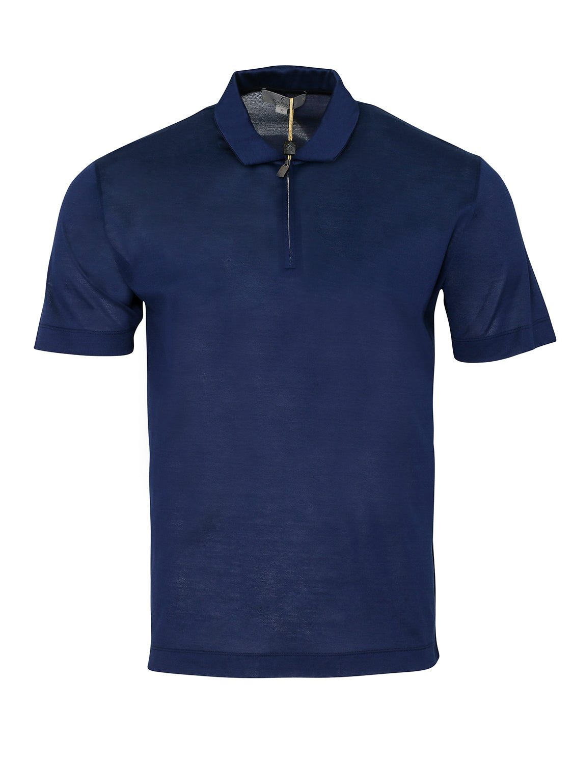 Canali Super Soft Silk & Wool Zip Polo (Navy/ Midnight ) - Union 22