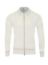John Smedley Lowland Tipped Zip Shirt (Morning Mist) - Union 22