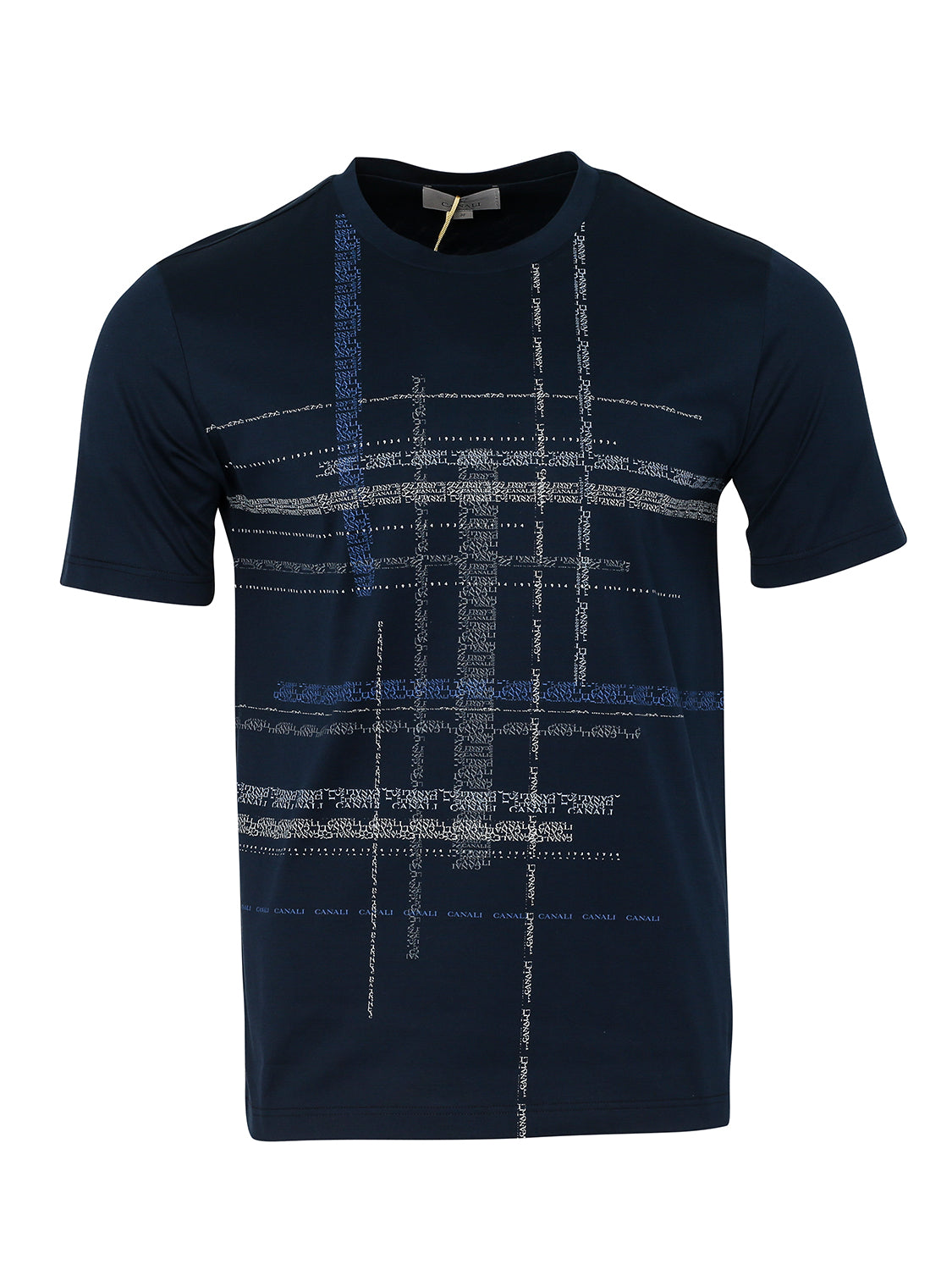 Canali Crew Text Print T-Shirt (Navy) - Union 22