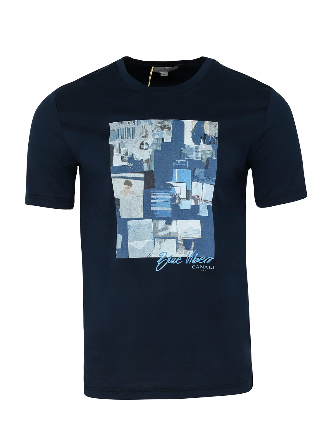 Canali Crew Printed T-Shirt (Navy) - Union 22