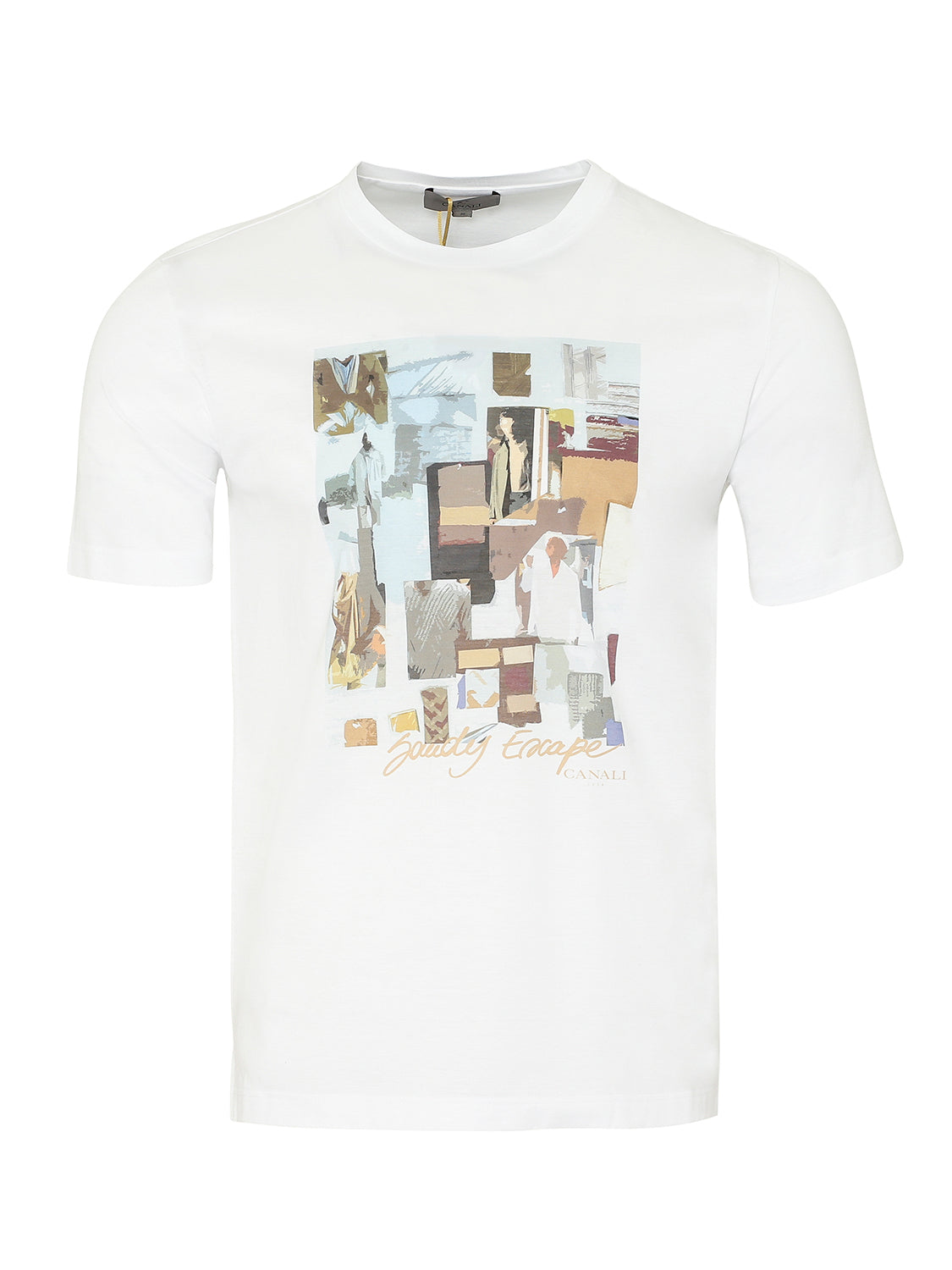 Canali Crew Printed T-Shirt (White) - Union 22