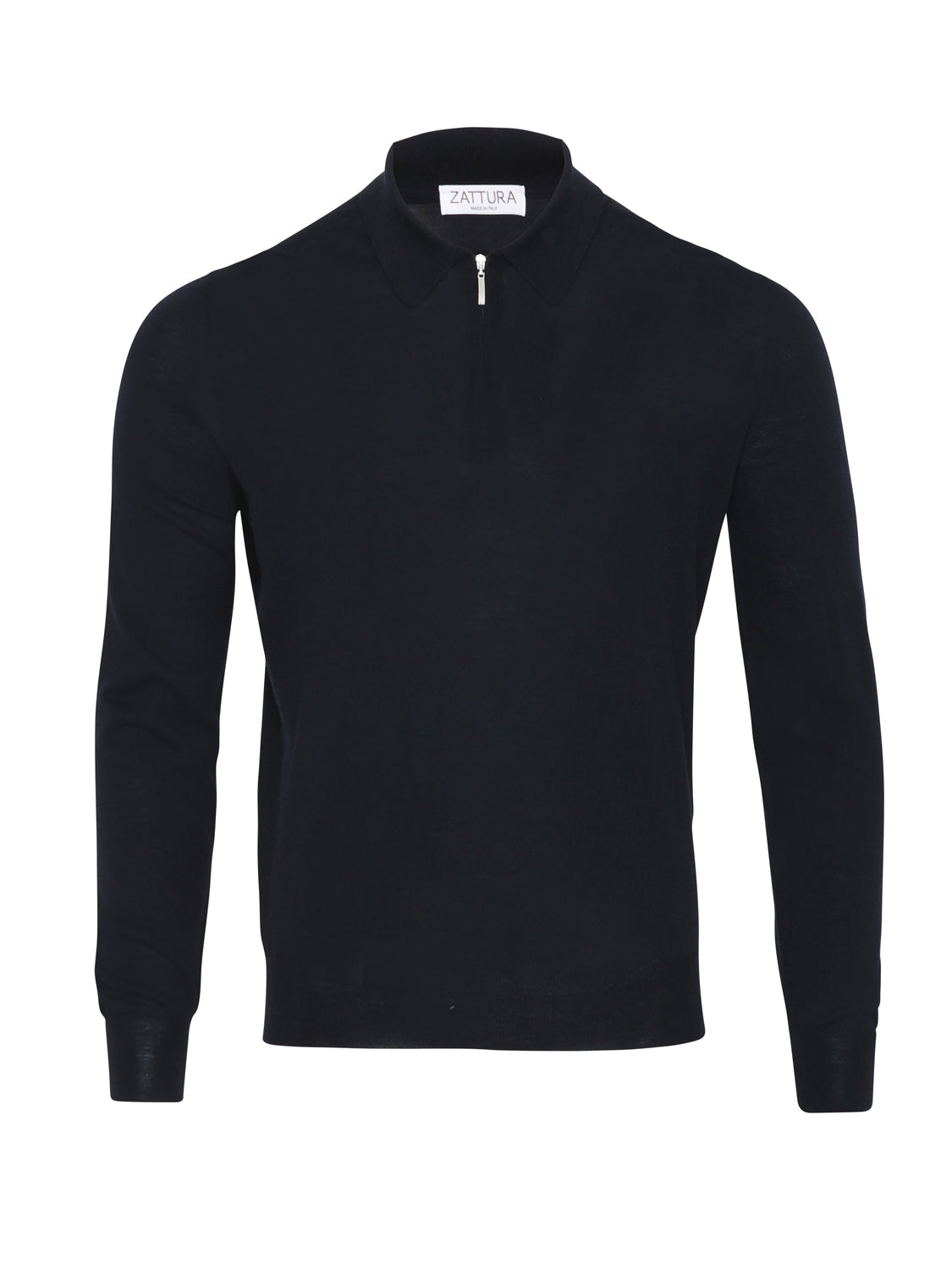 Zattura Superfine Merino Zip Long Sleeve Polo (Navy) - Union 22