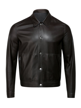 Corneliani Reversible Leather Bomber (Mocha)