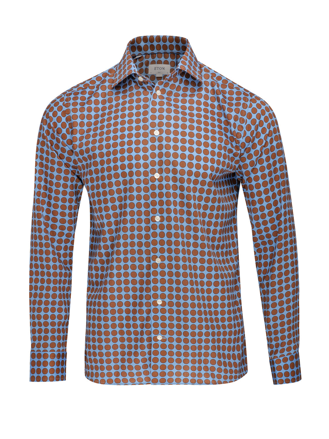 ETON Slim Fit Pointed Collar Bold Dot Contrast (Blue & Brown) - Union 22