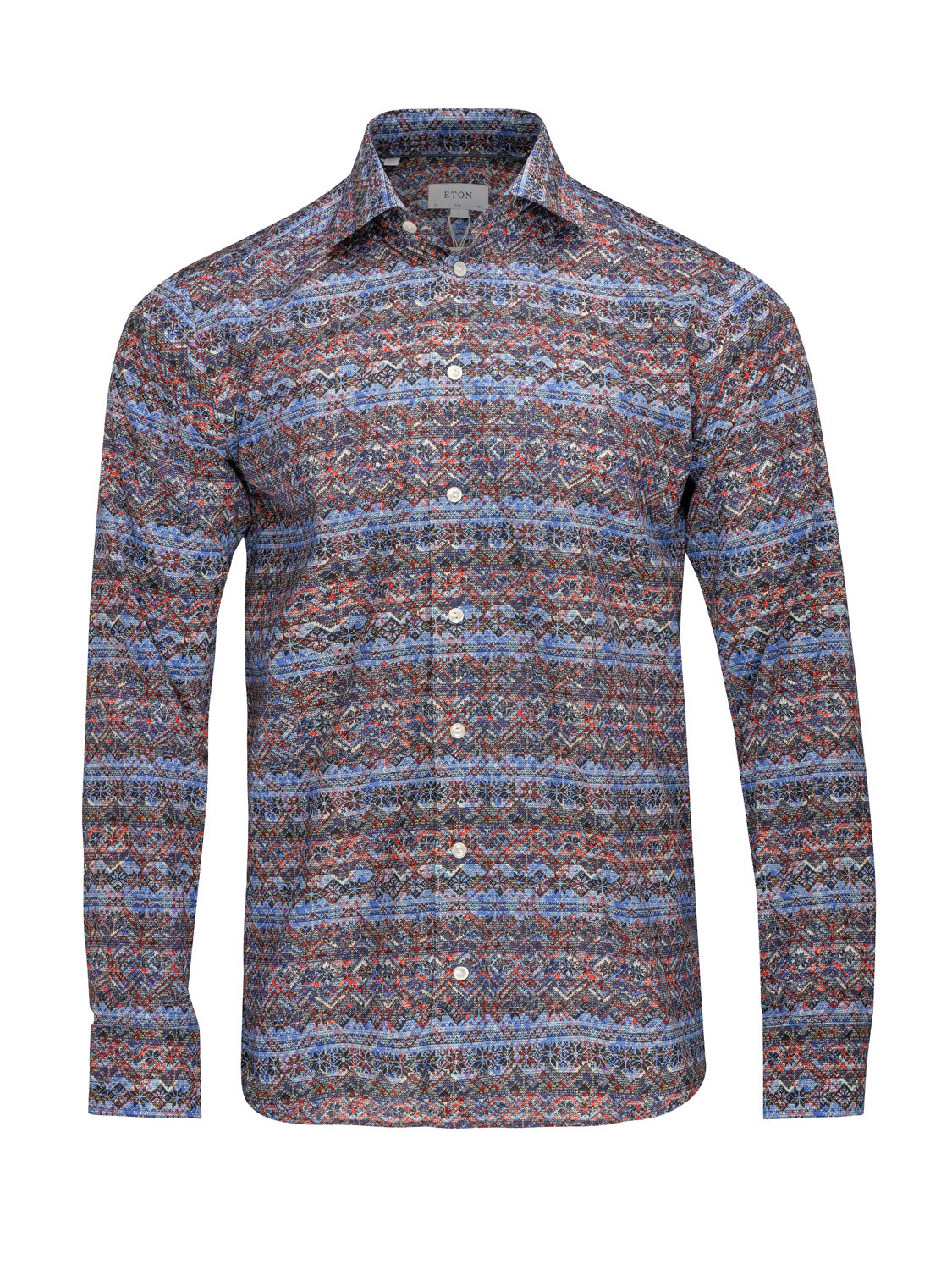 ETON Slim Fit Fair Isle Print Pointed Collar Shirt - Union 22