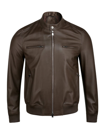 Corneliani Leather Bomber (Mocha)