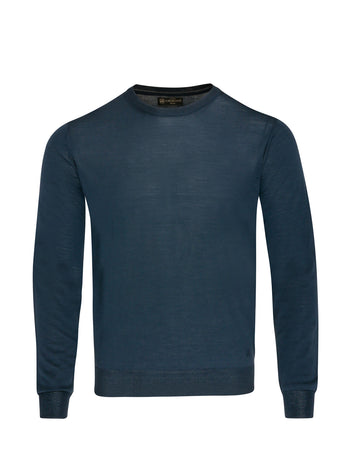 Corneliani Long Sleeve Crew Neck (Petrol Blue)