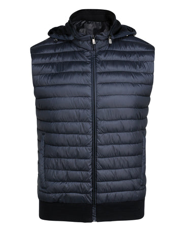 Corneliani Quilted Gilet With Hood (Navy)
