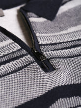 Corneliani Quarter Zip Stripe Polo (Blue) - Union 22