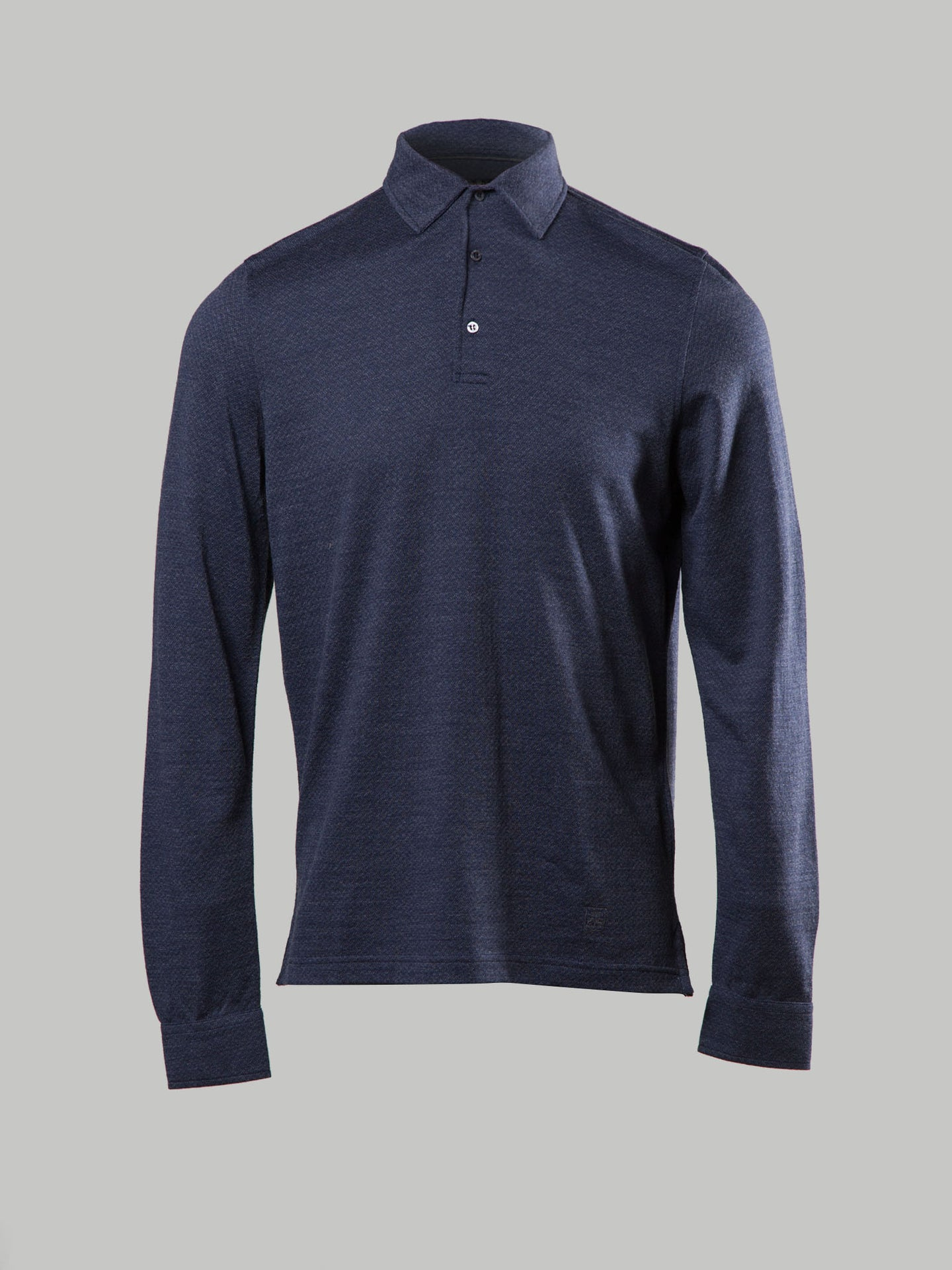 Corneliani Herringbone Polo (Blue and Grey)