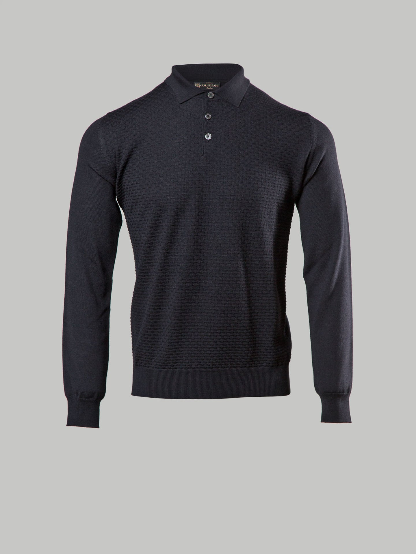 Corneliani Cable Knit Polo (Black)