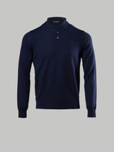 Corneliani Cable Knit Polo (Navy)