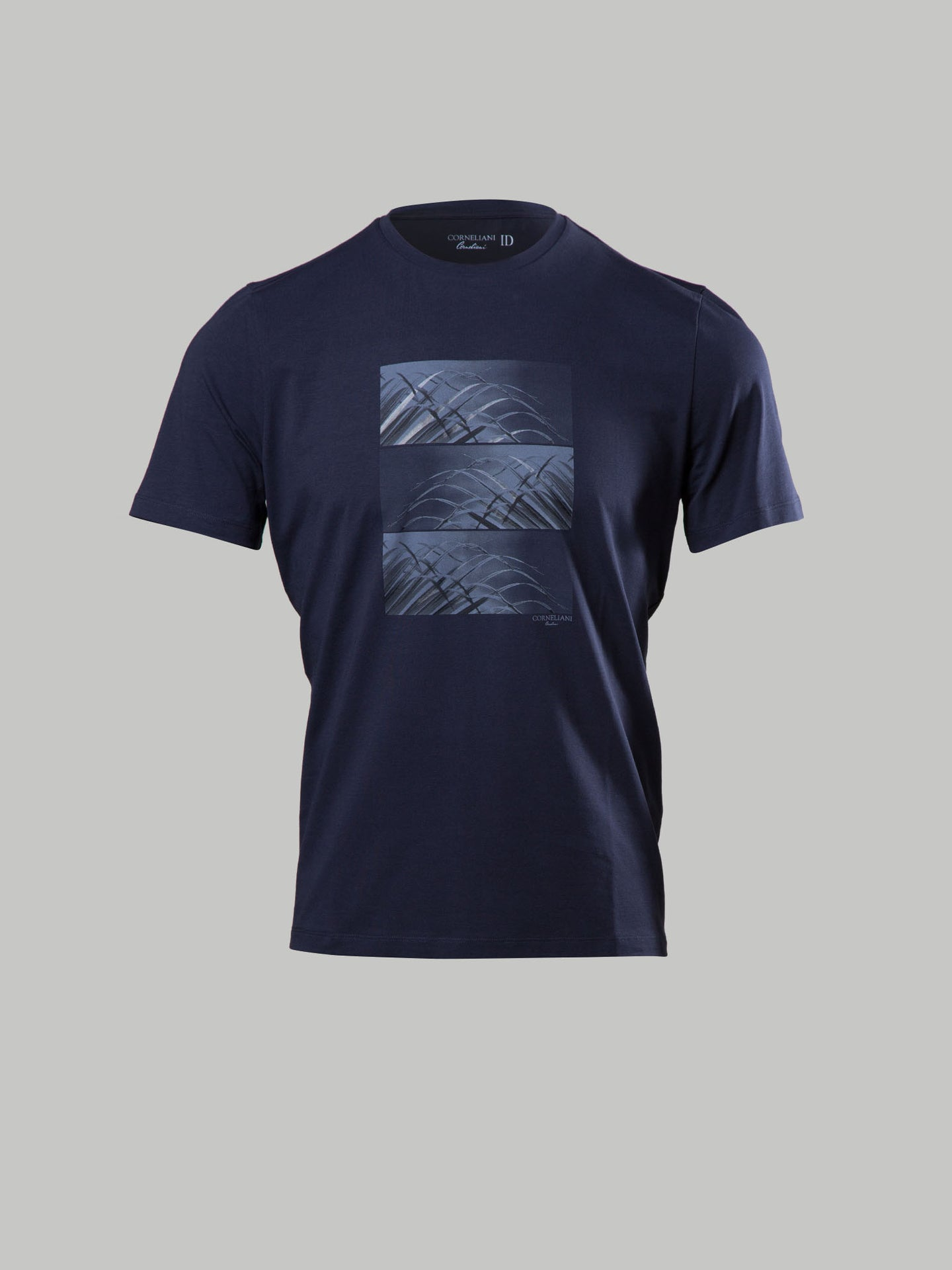 Corneliani Leaf Print T-Shirt (Navy)
