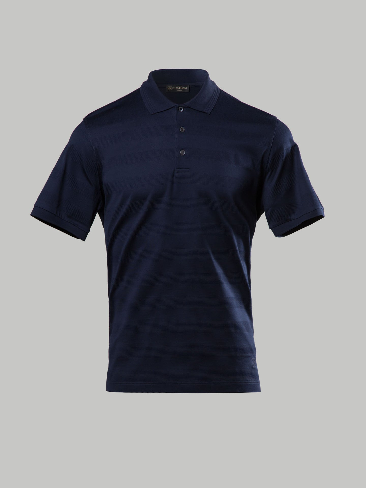 Corneliani Tonal Stripe Polo (Navy)