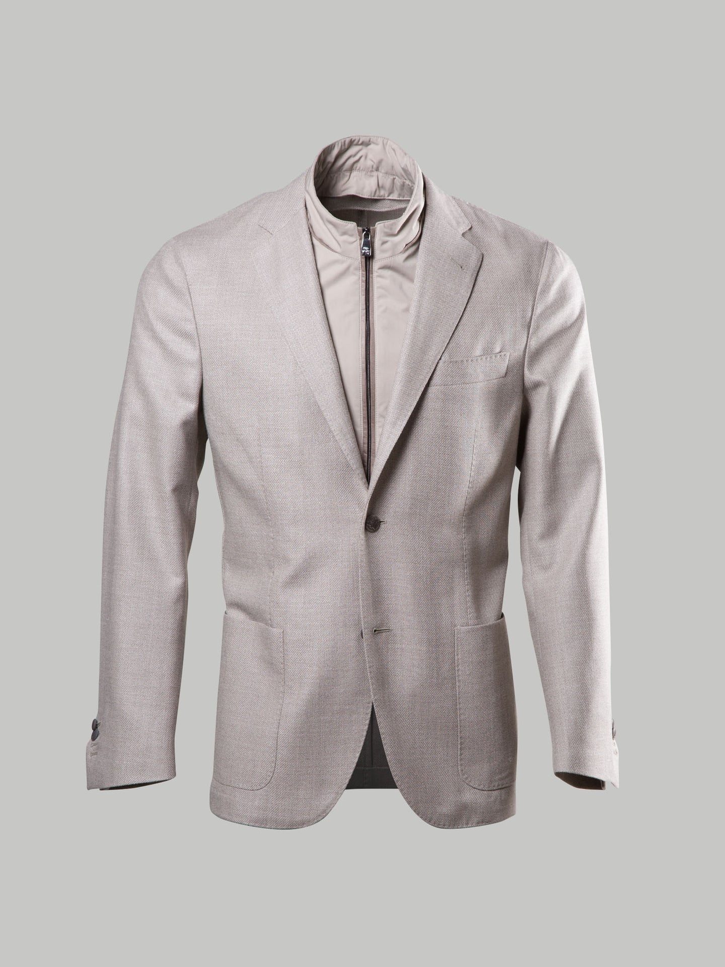 Corneliani Double Vented Light Weight Blazer With Removable Chest Piece (Beige) - Union 22