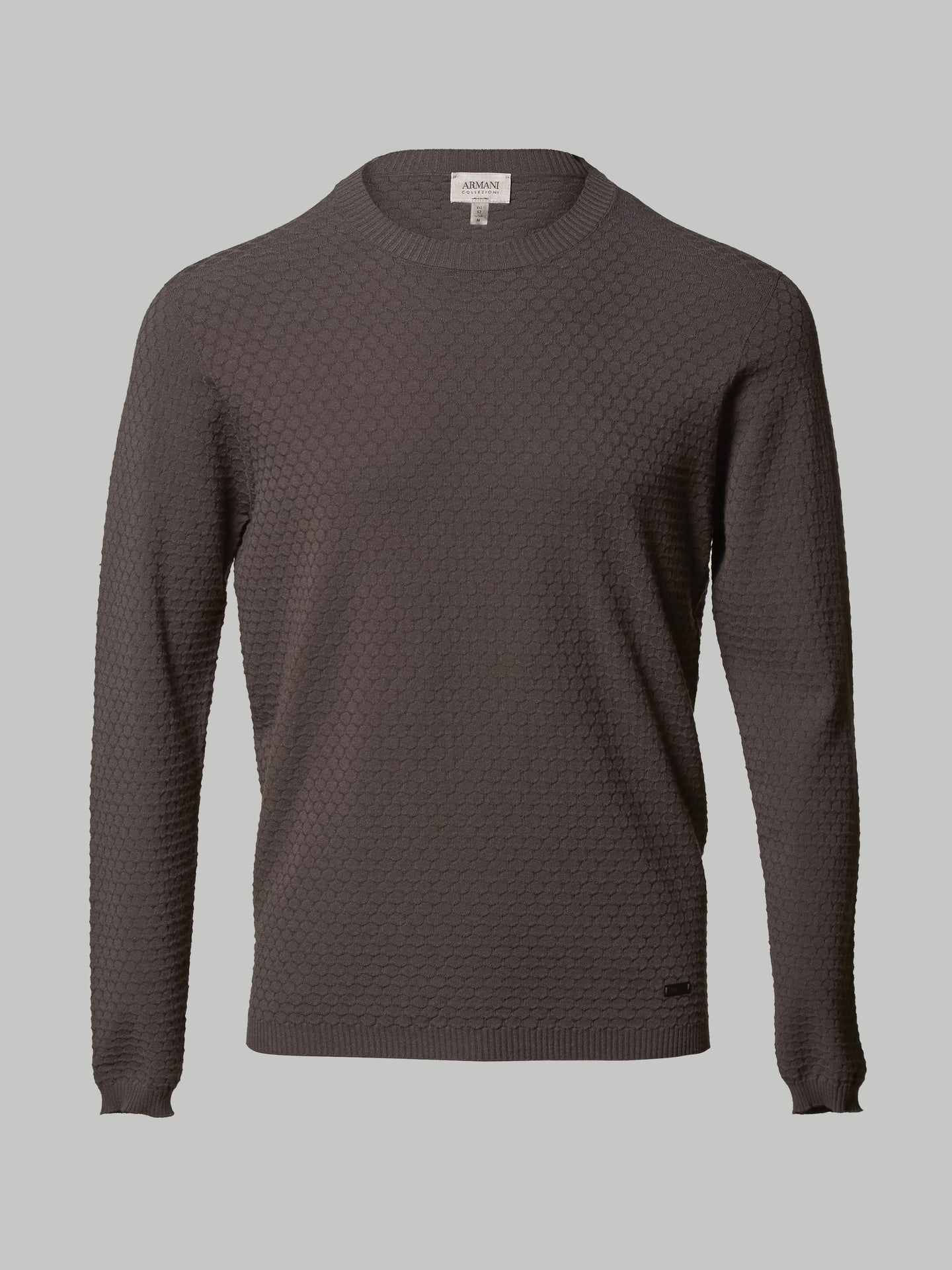 Armani Crew Neck Textured Knit (Grey)