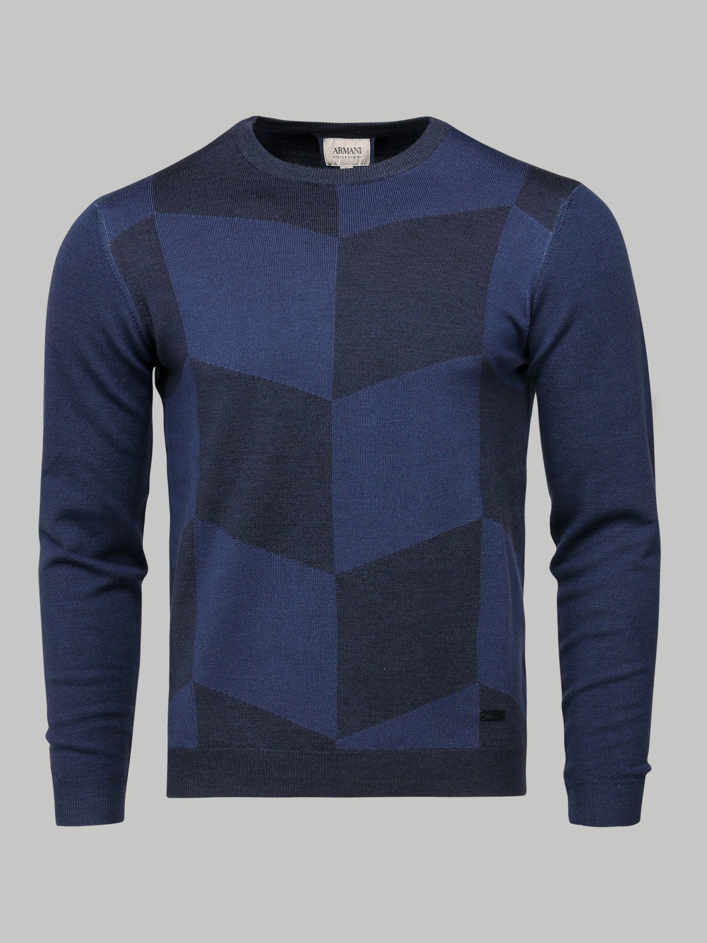 Armani Collezioni Crew Neck Long Sleeve Pattern Sweater (Navy)