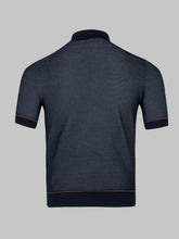 Brioni Silk and Cotton Honeycomb Polo (Blue)