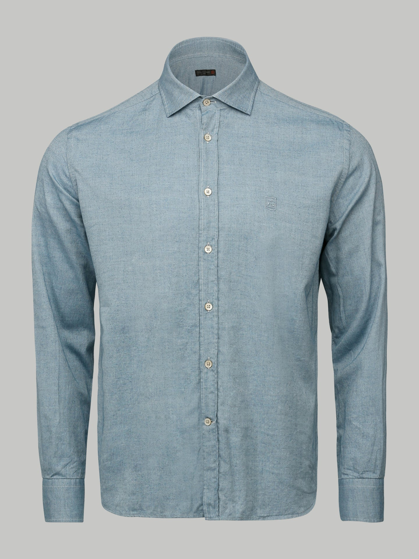 Corneliani Cutaway Collar Shirt (Steel Blue)