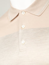 Brioni Silk and Cotton Polo (Beige & Silver)