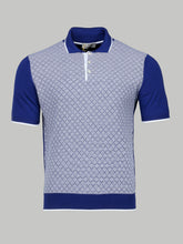 Canali textured Contrast Polo (Blue/White)