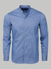 Armani Collezioni Micro Check Mandarin Collar Shirt (Light Blue and White)