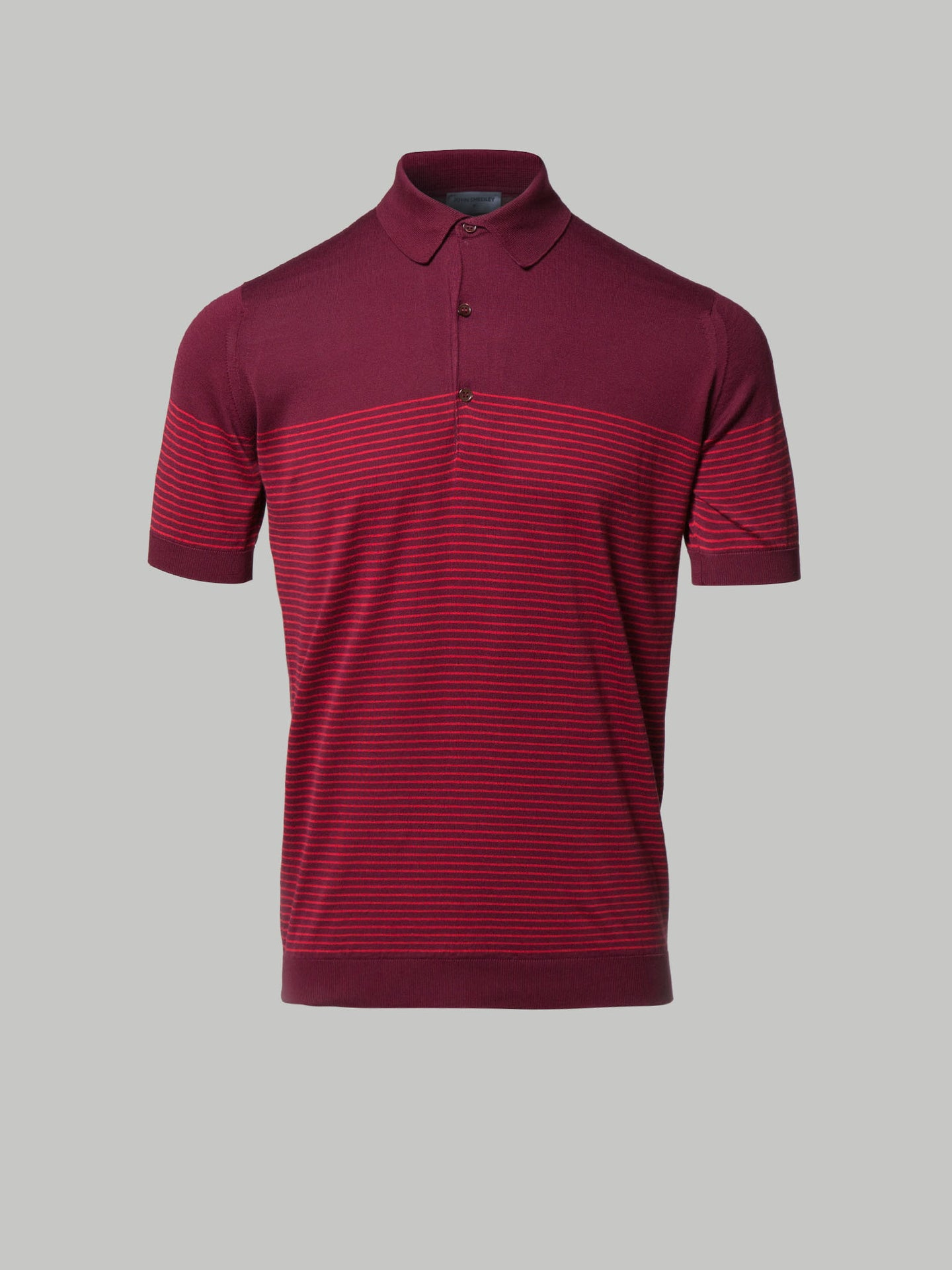 John Smedley Viking Polo (Bordeaux and Red Stripe)