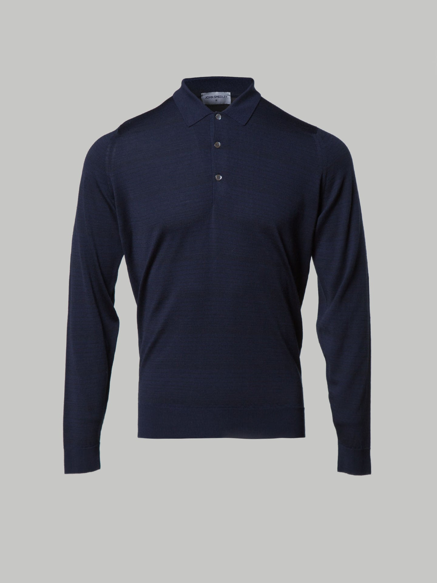 John Smedley Smooth Polo (Navy with Black Pin Stripe Contrast)