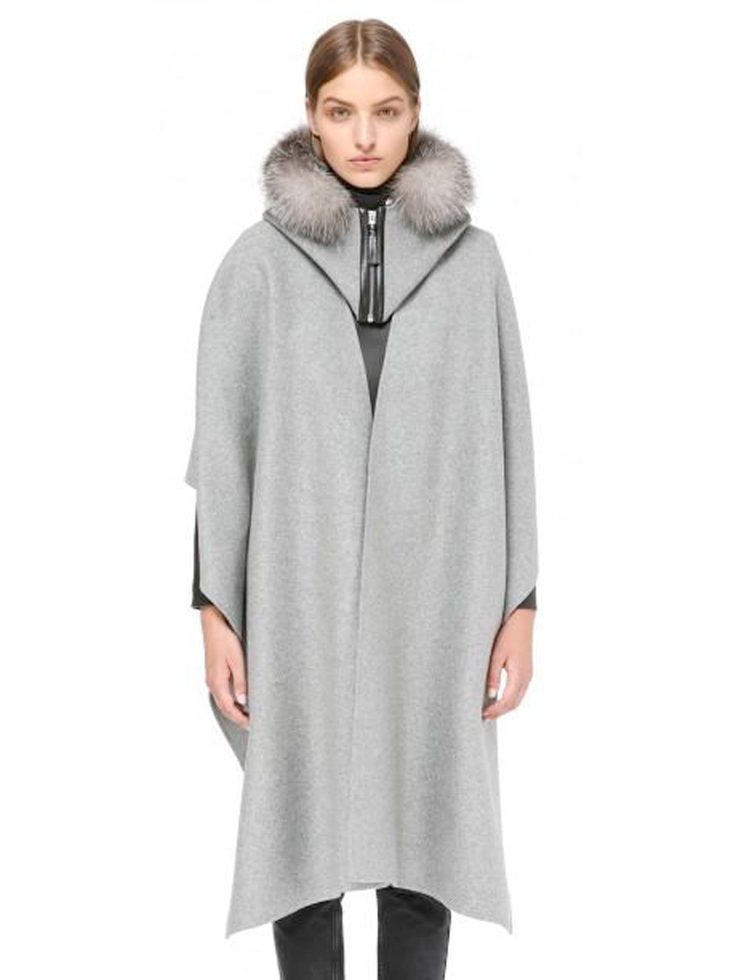 Mackage Helina-X Wool Cloak With Fur Trim (Grey)
