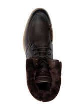 Santoni Fur Lined Lace Boot (Brown)