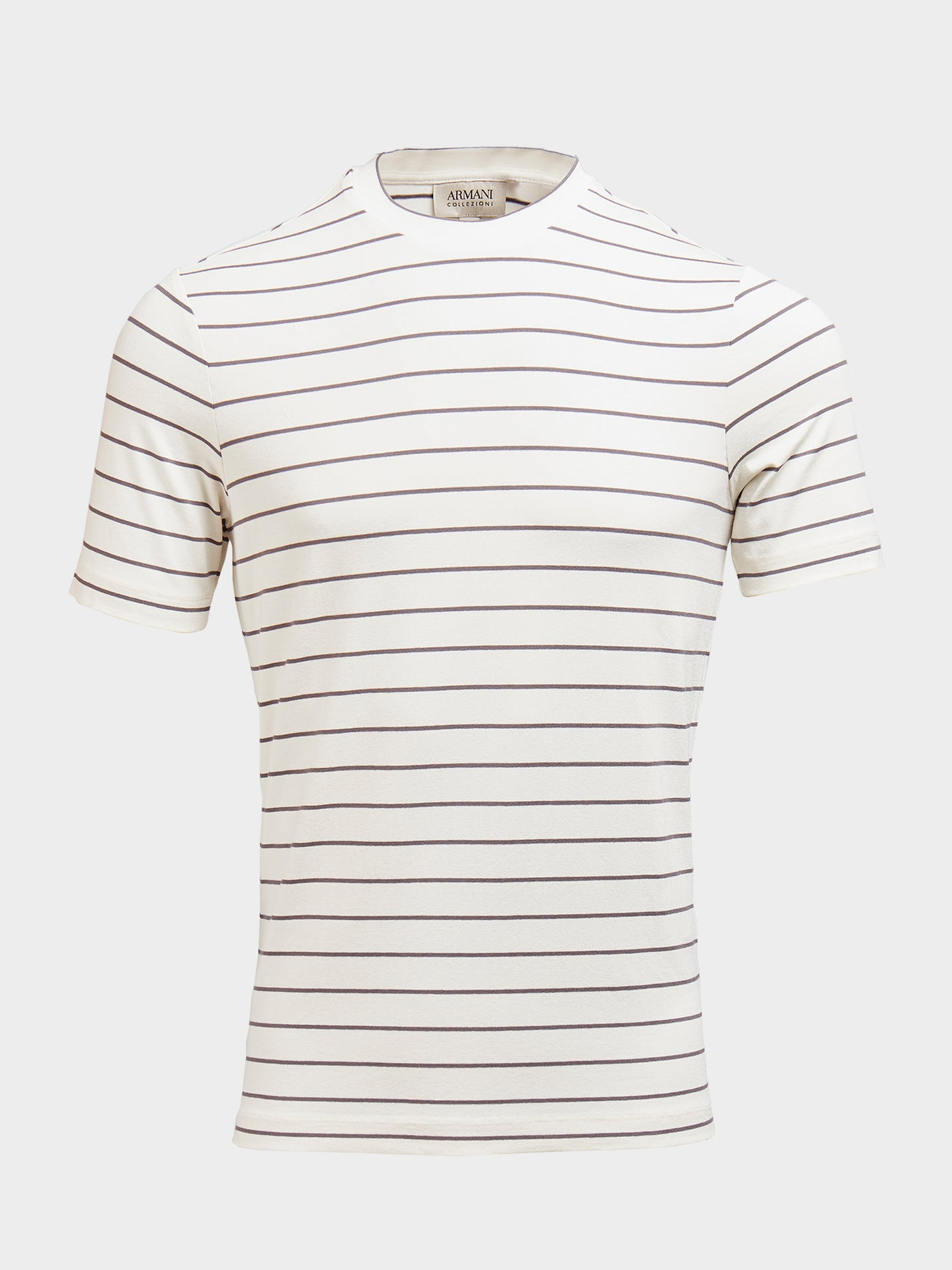 Armani Collezioni Stretch T-Shirt (Cream and Grey Stripe)