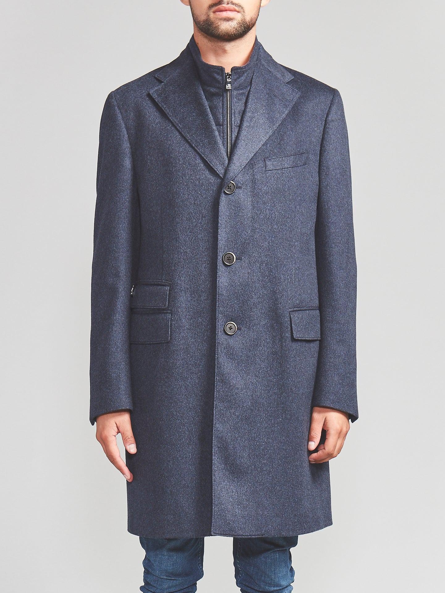 Corneliani Cashmere Trench Coat (Navy) - Union 22