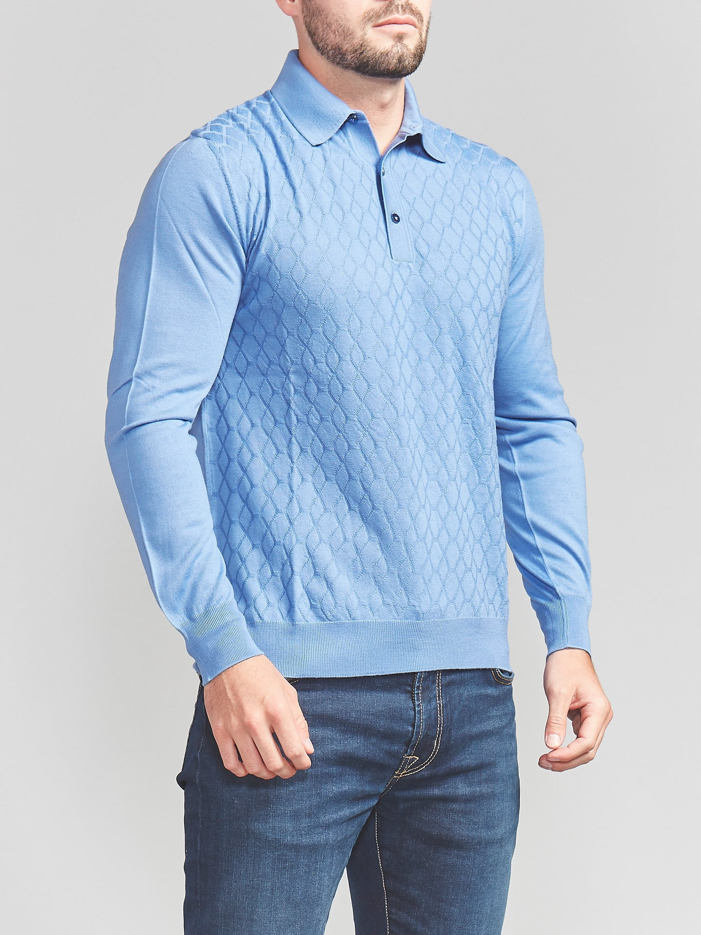 Bertolo Baggio Cashmere & Wool Blend Polo (Blue)