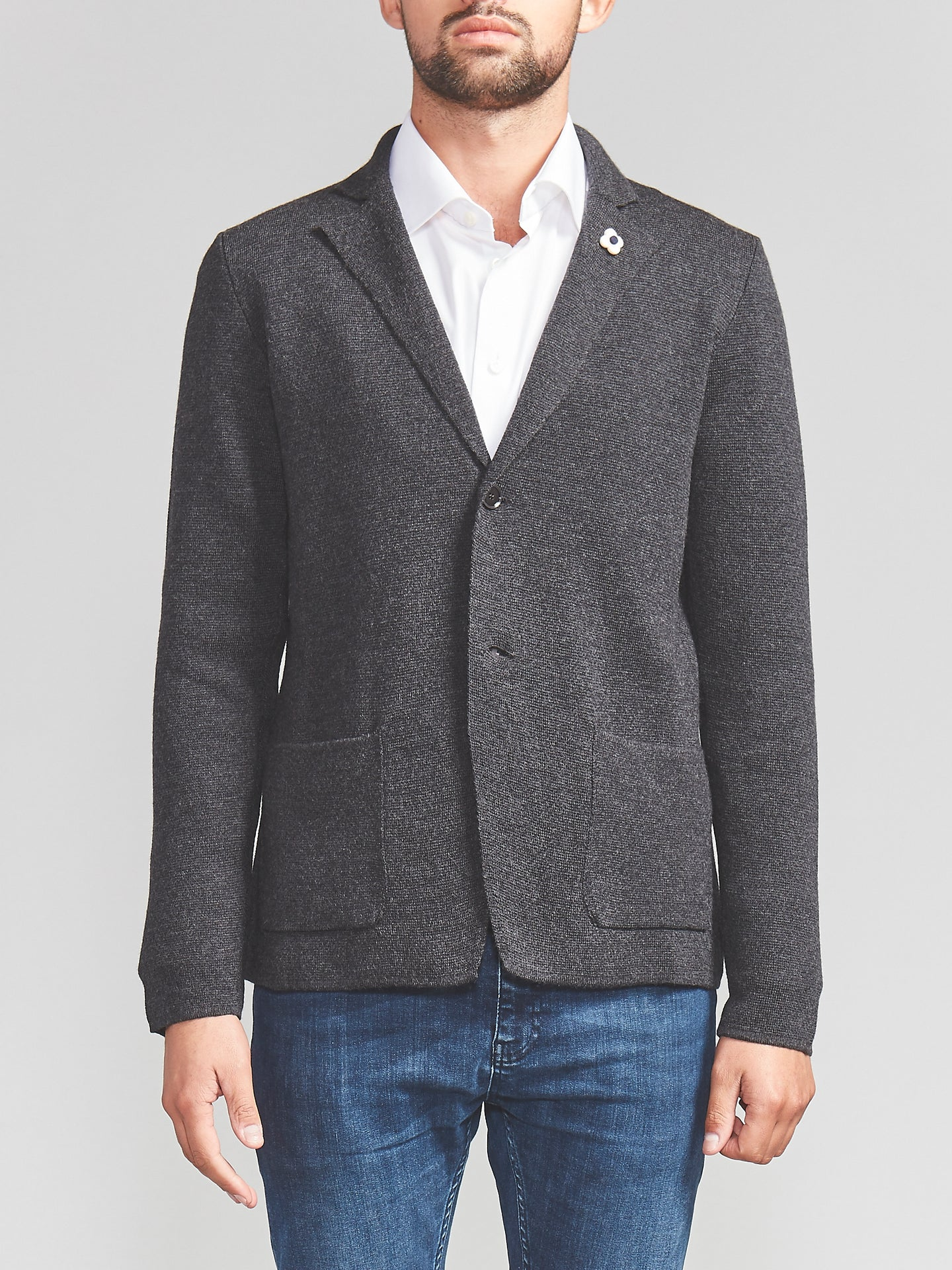 Lardini Knitted Blazer (Grey)