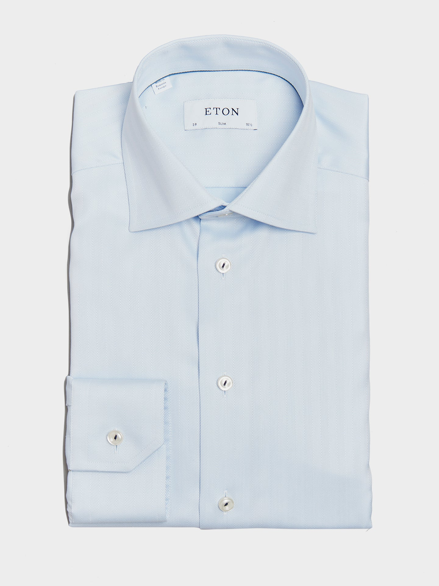 ETON Slim Fit Pointed Collar Herringbone Shirt (Blue)