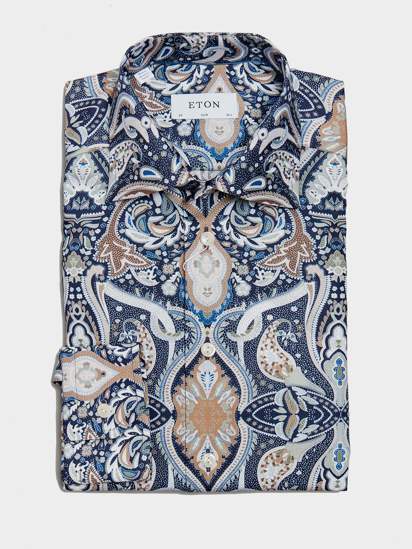 ETON Slim Fit Pointed Collar Paisley Print (Navy)