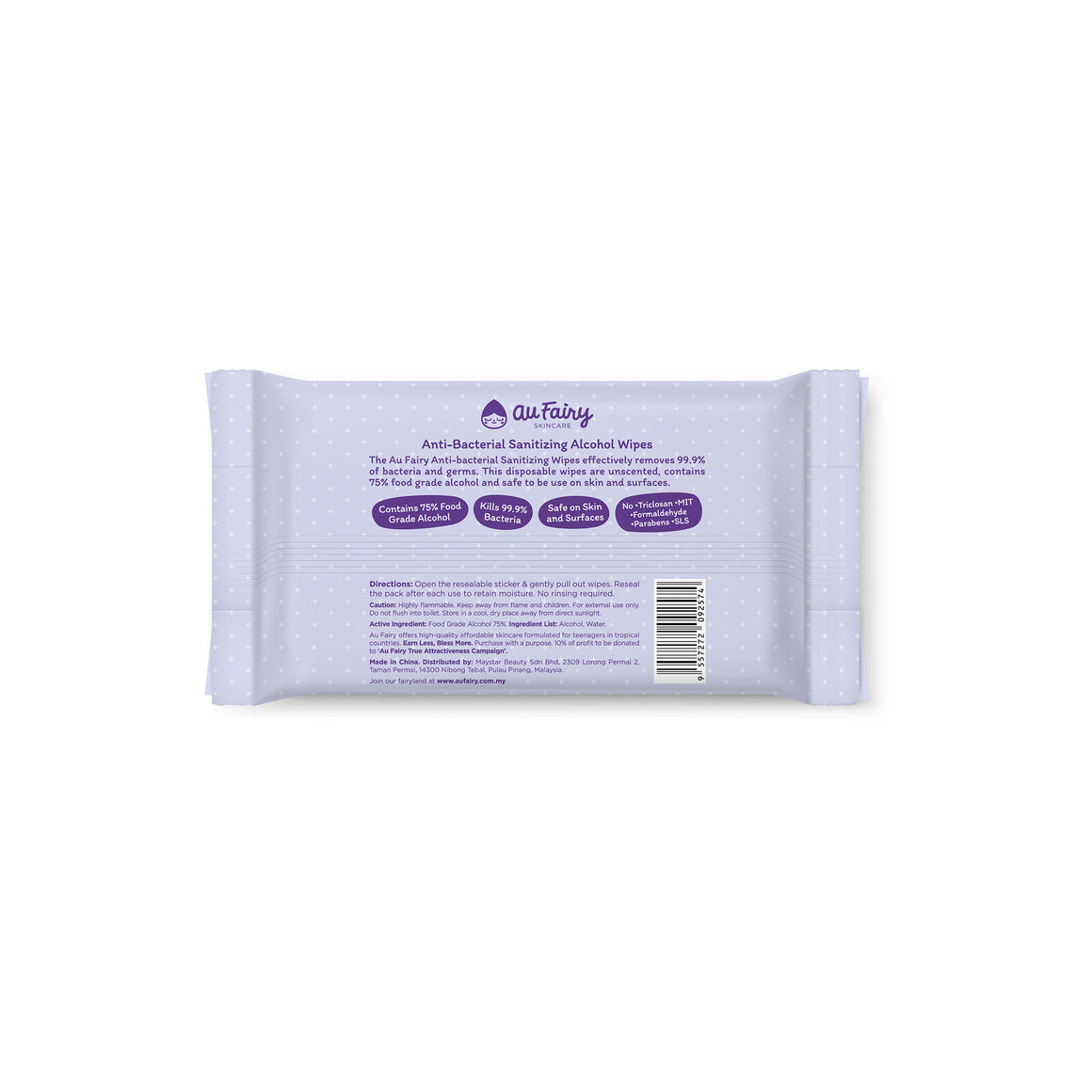 Au Fairy Anti-bacterial Sanitizing Alcohol Wipes - 10s
