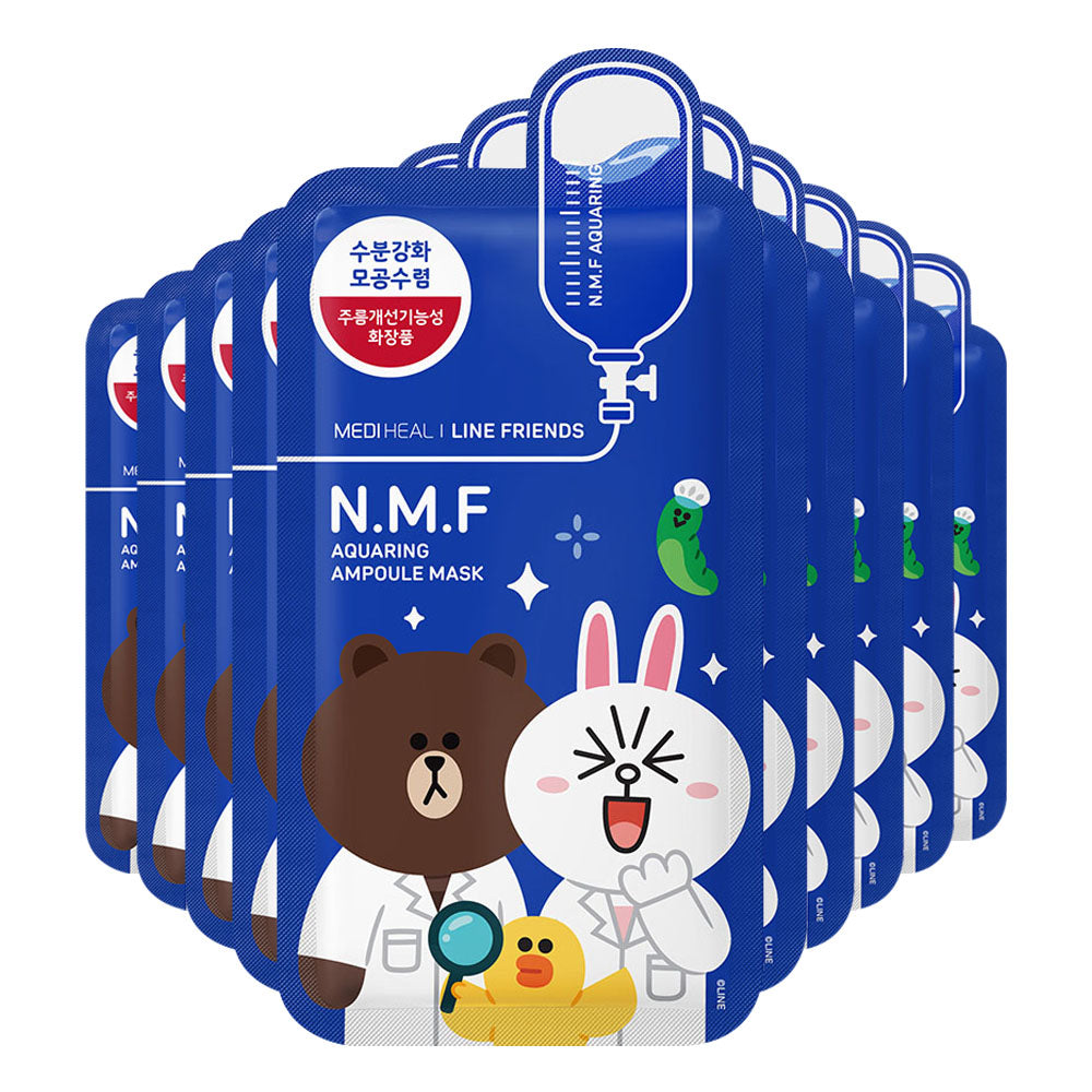 SPECIAL BUNDLE! Mediheal Line Friends N.M.F Aquaring Ampoule Mask