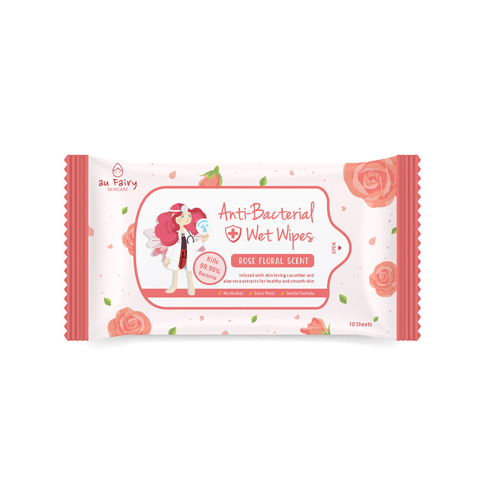 Anti-Bacterial Wet Wipes - Rose Floral Scent : 10 sheets - Yoskin