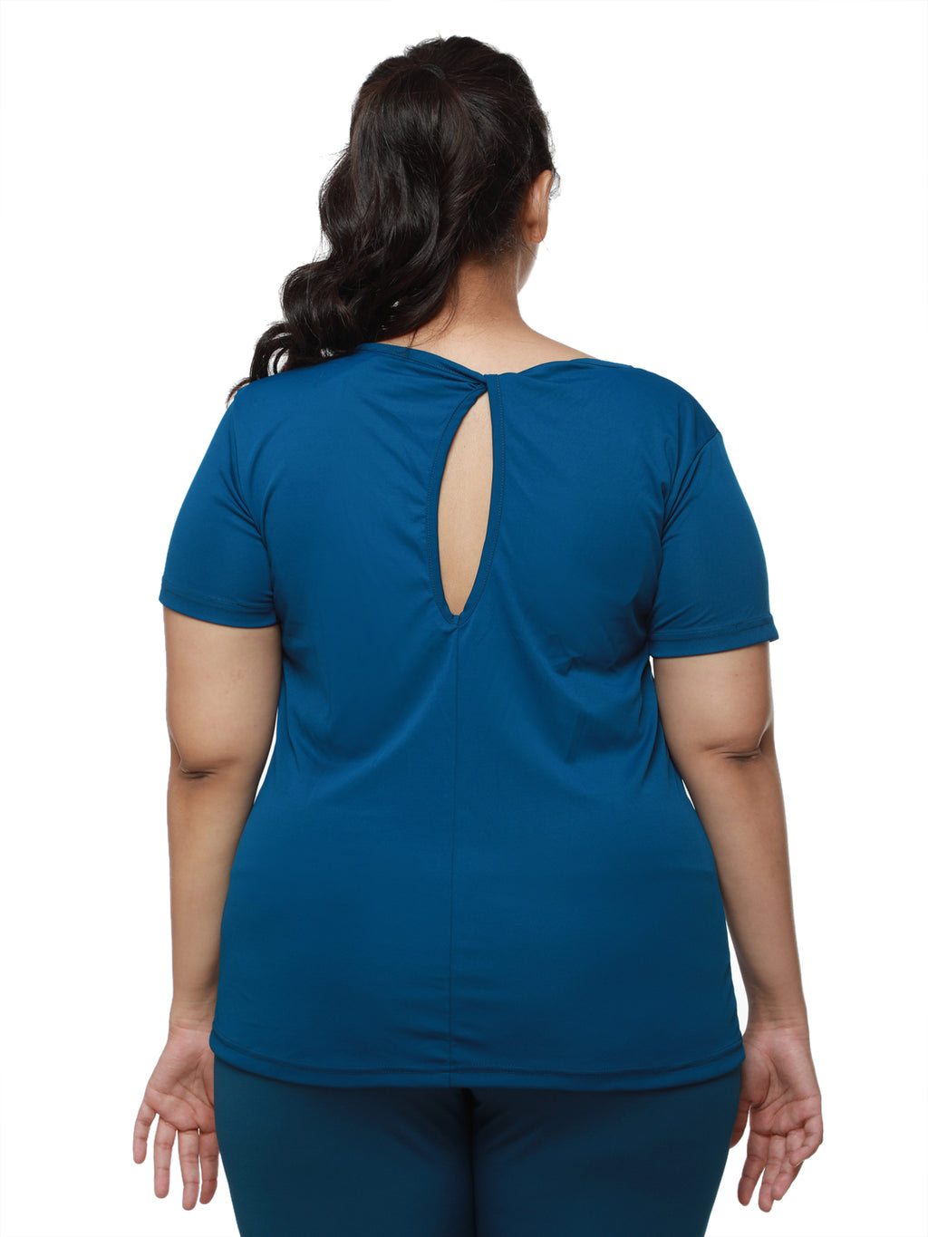 Teal Twisty Back Tee
