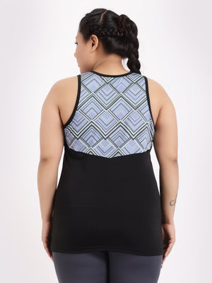 Black Geometric Print Freedom Tee