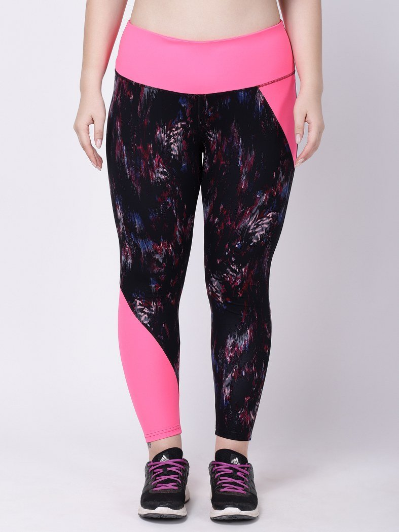 Black Printed NeoPink Road Runner Leggings