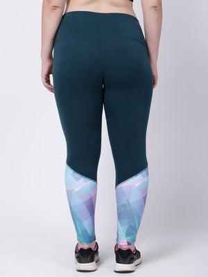 Bottle Green Turquoise Print Style Diva Leggings