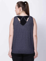 Grey Melange Back String Tee