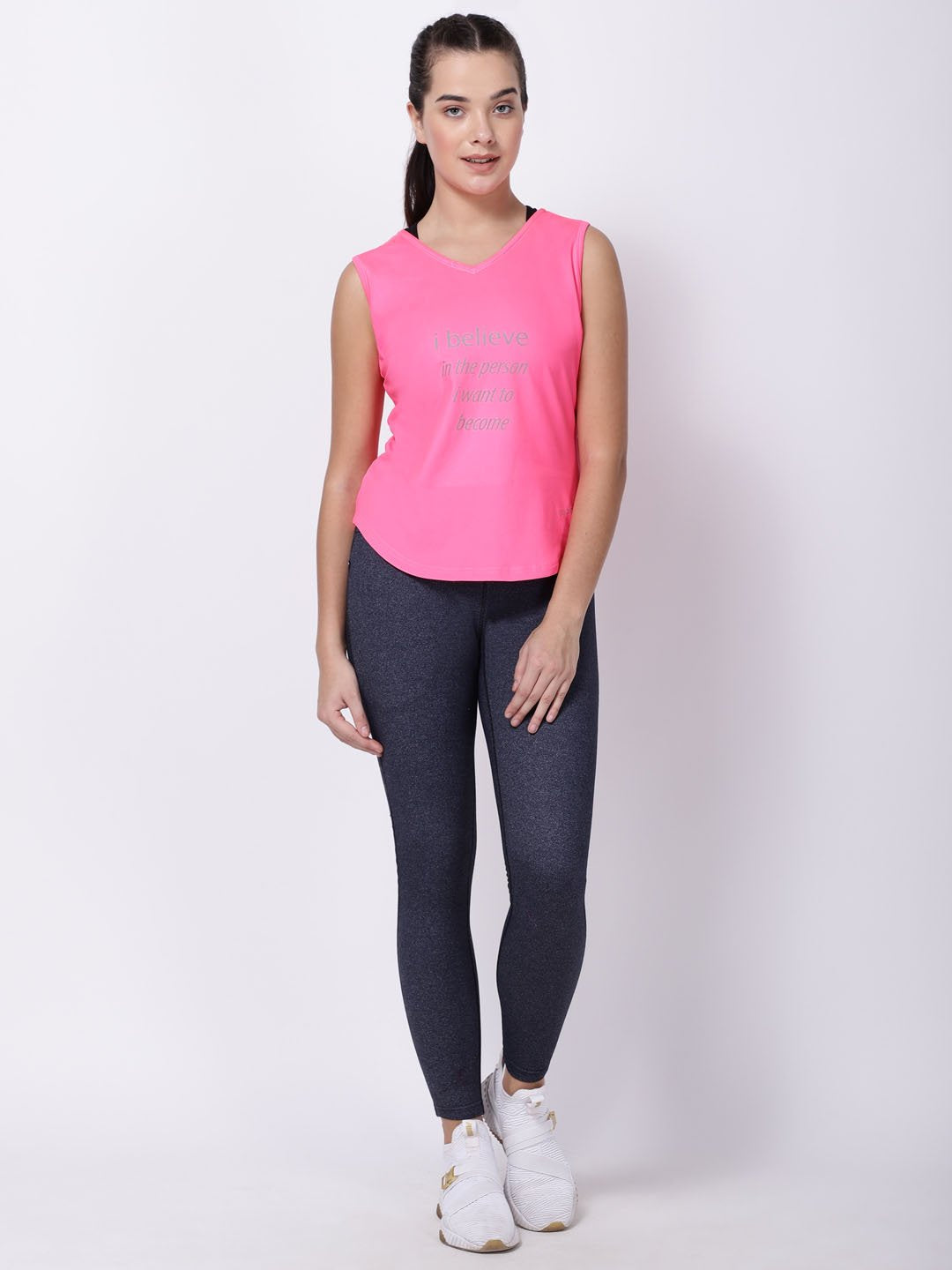 Neo-Pink Sleeveless Graceful Lady Tee