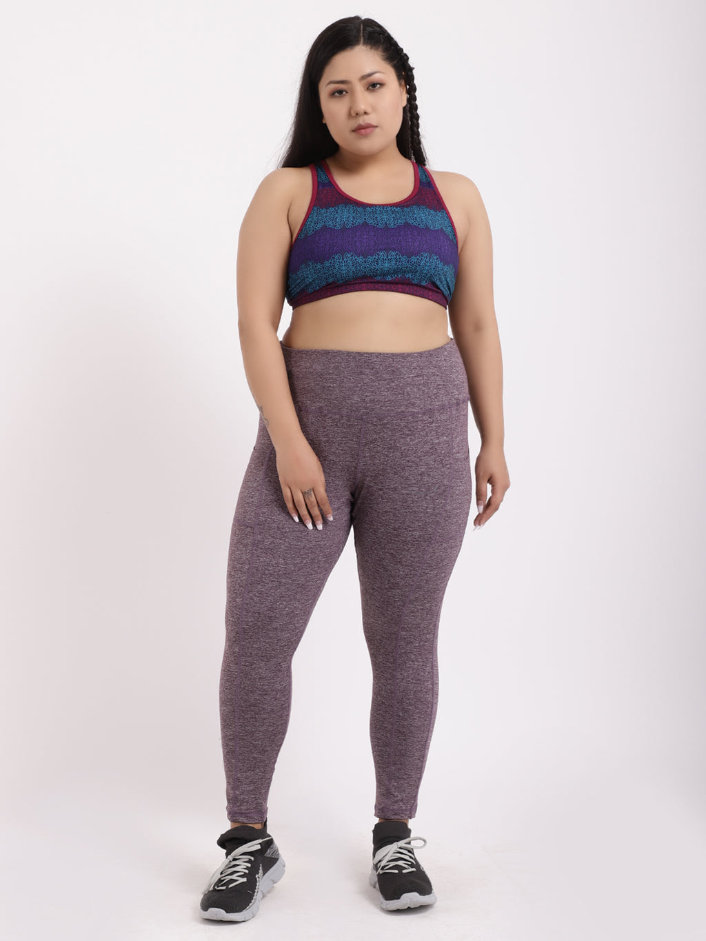 Purple Melange Pace Leggings