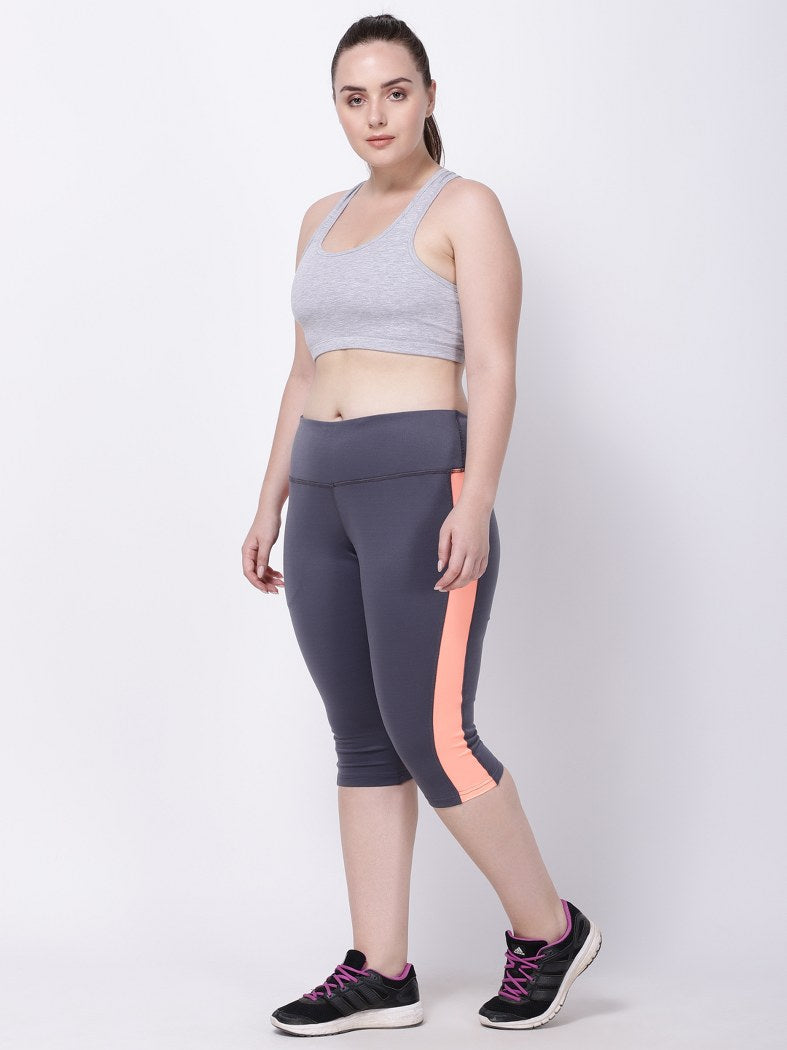 Grey Neo-Orange Summer Breeze Capri