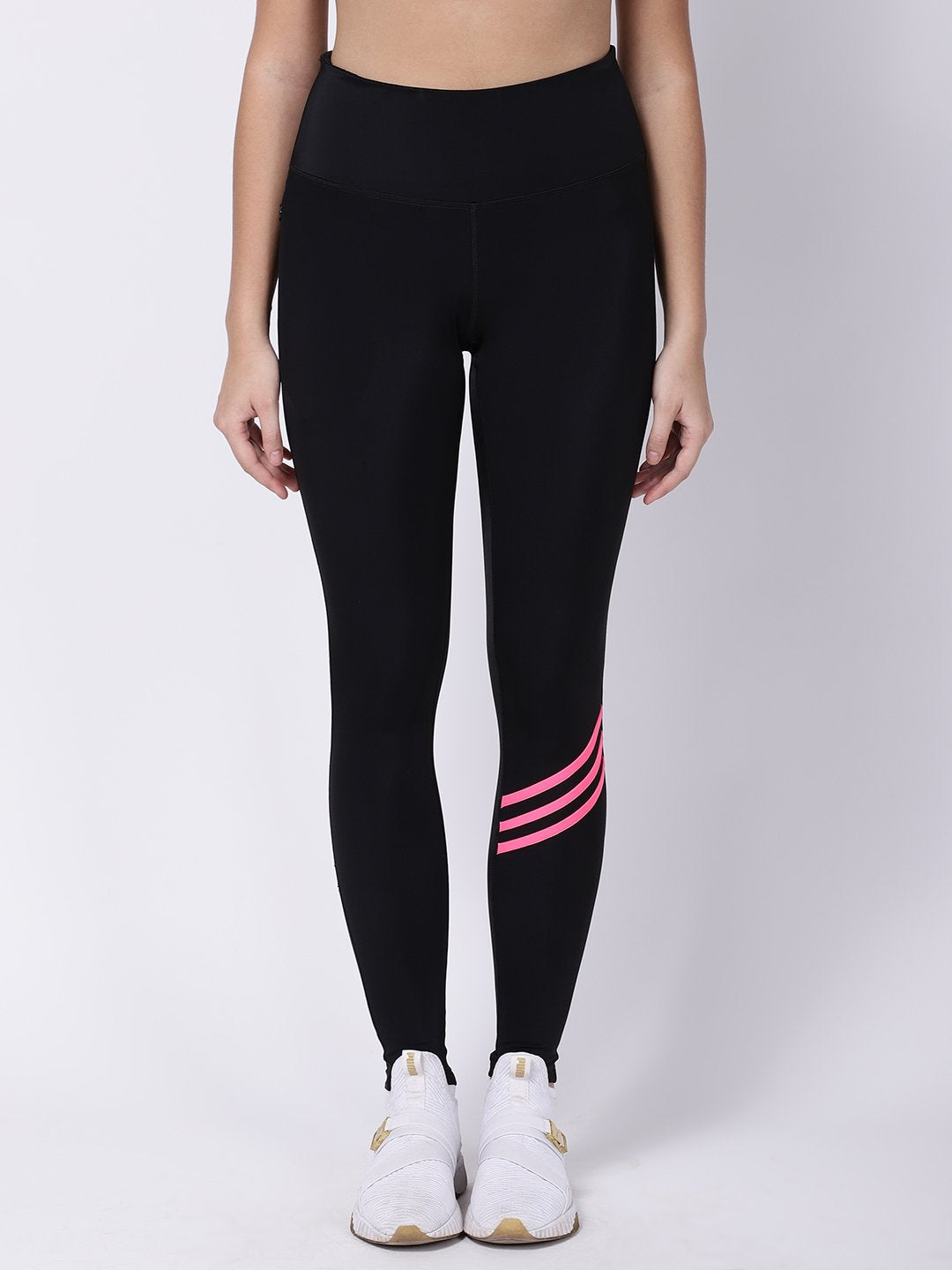 Black Pink Striped Ace Leggings