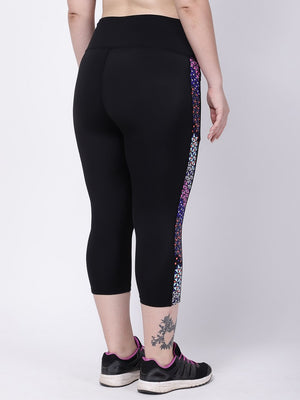 Black Side Print Summer Breeze Capri